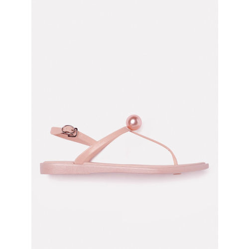 DressBerry Pink Solid Open Toe Flats