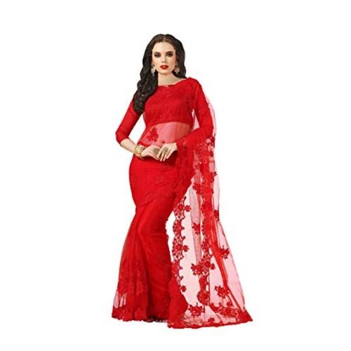 Darshita International Red Embroidered Bollywood Net Saree