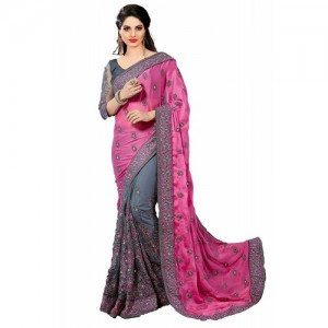 PanashTrends Grey & Pink Heavy Embroidery Work Satin Silk & Net Sarees K608.P.G.O.B.R.Bl.T)