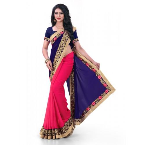 Kuki Fashion Half & Half Embroidered Bollywood Georgette Saree(Blue)