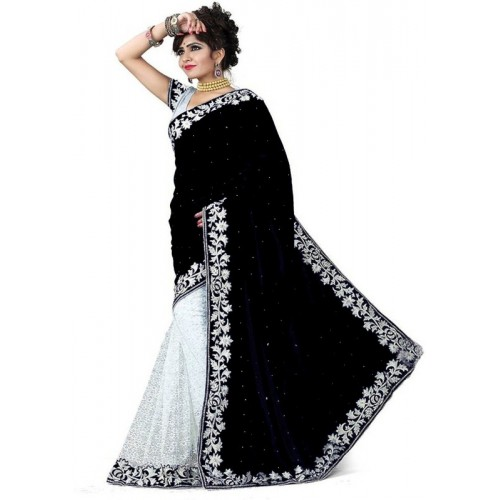 Bolly Lounge Self Design Black & White Daily Wear Velvet Saree(Black, White)
