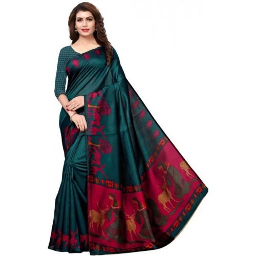 Saara Animal Print Green, Printed Fashion Art Silk Saree(Dark Green, Pink, Multicolor)