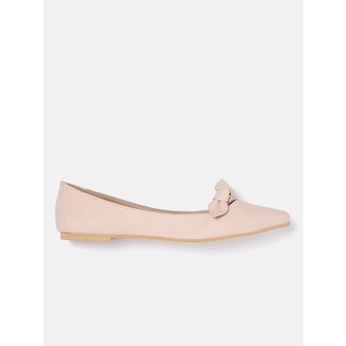 DressBerry Women Peach-Coloured Solid Synthetic Ballerinas