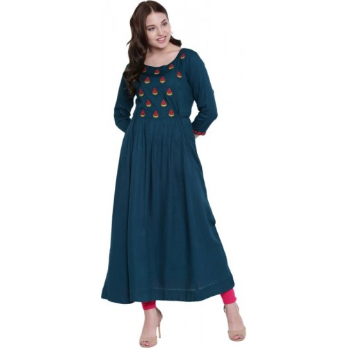 Gulmohar Jaipur Blue Rayon Embroidered Anarkali Kurta