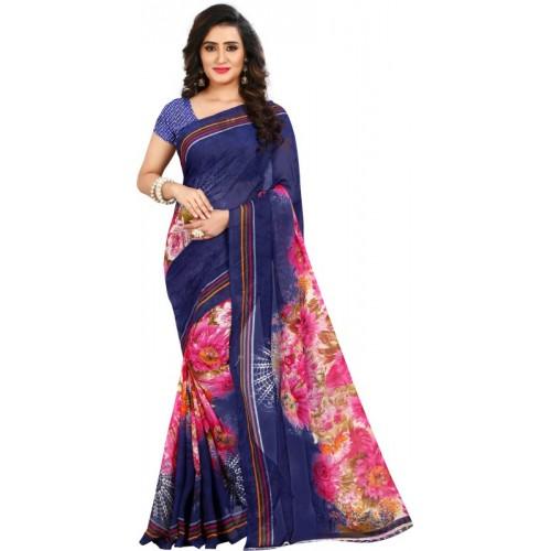 Anand Sarees Multicolor Floral Print Fashion Faux Georgette Saree(Multicolor)