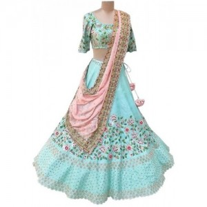 AIKA Sky Blue New Latest Bollywood Designer Embroidered Lehenga Cholis