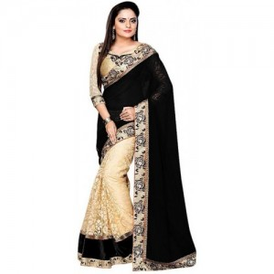 Shree Creation Black & Beige Embroidered Georgette Net Saree