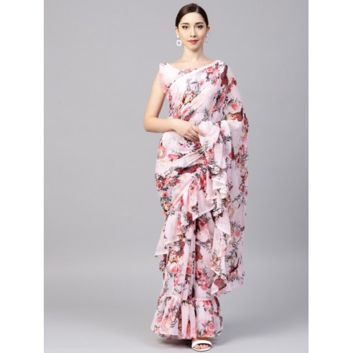Inddus Pink Floral Printed Ruffle Saree