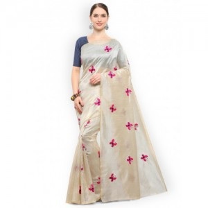 Saree mall Beige Silk Blend Solid Bhagalpuri Saree