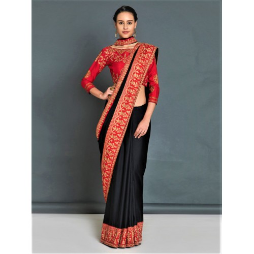 ae89d461597039 Buy Mitera Black Embroidered Poly Georgette Saree online   Looksgud.in