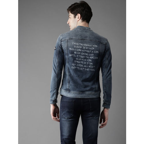 Flying Machine Men Blue Faded Denim Jacket with Printed Detail on the Back