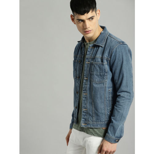 Roadster Blue Solid Denim Jacket