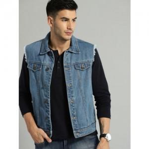 Roadster Men Blue Solid Denim Sleeveless Jacket