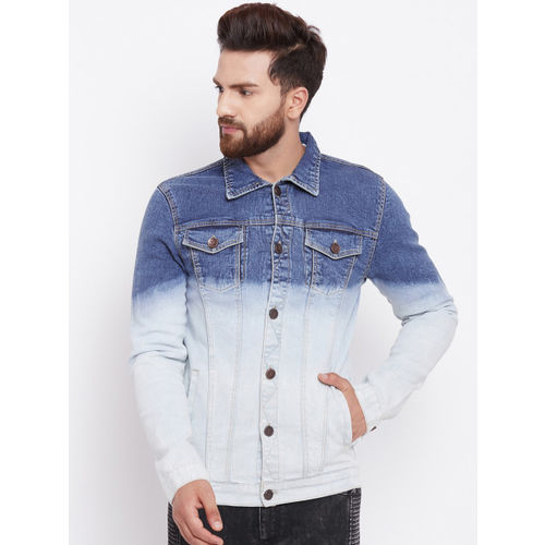 FUGAZEE Men Blue Colourblocked Denim Jacket