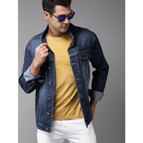 HERE&NOW Blue Solid Denim Jacket