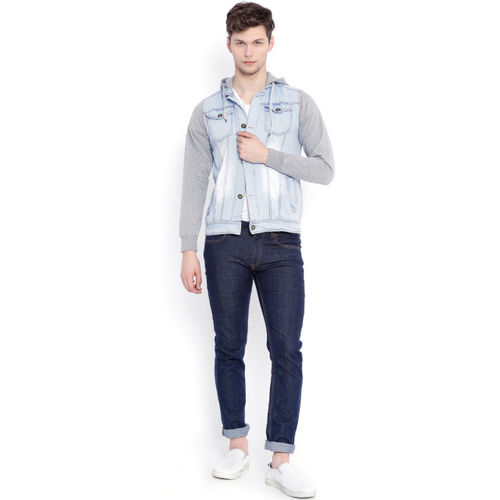 Campus Sutra Blue & Grey Hooded Denim Jacket