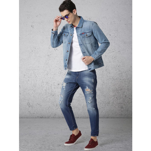 Ecko Unltd Men Blue Printed Denim Jacket