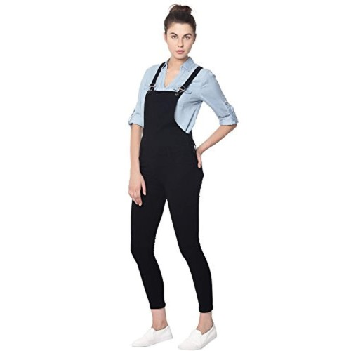Broadstar Black Denim Solid Casual Dungaree