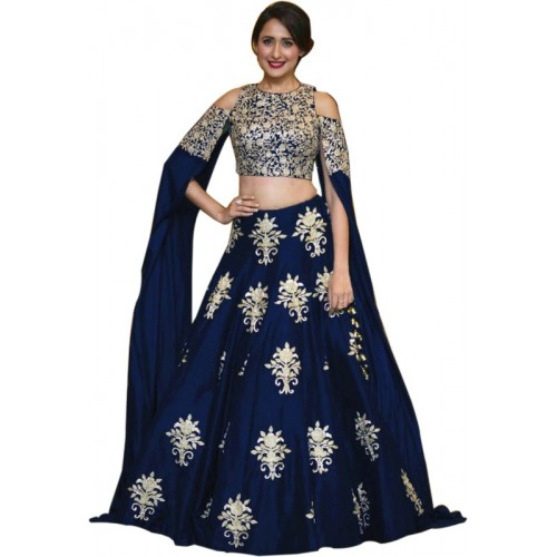 Siddeshwary Fab Navy Blue Embroidered Semi Stitched Lehenga Choli