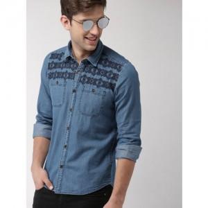Mast & Harbour Men Blue Slim Fit Self Design Casual Shirt