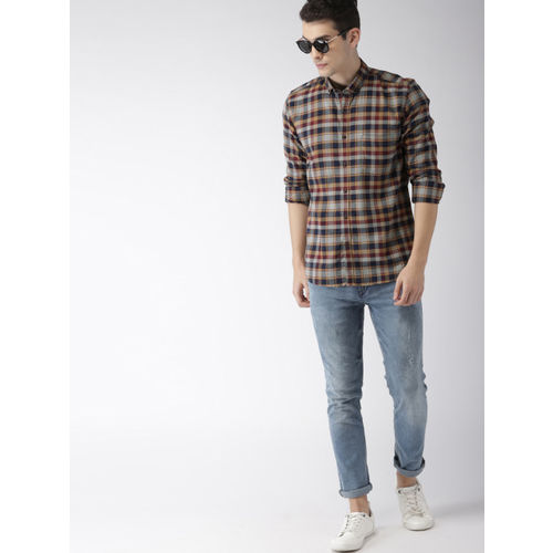 Mast & Harbour Men Brown & Blue Regular Fit Checked Casual Shirt