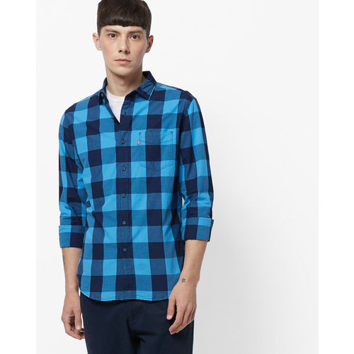 Levis Blue Checked Regular Fit Casual Shirt