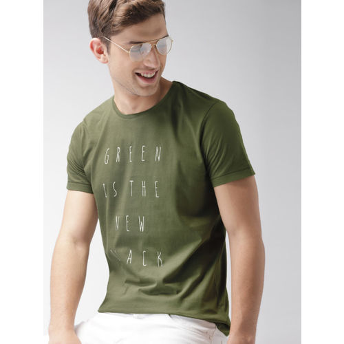 Mast & Harbour Men Olive Green Printed Round Neck T-shirt