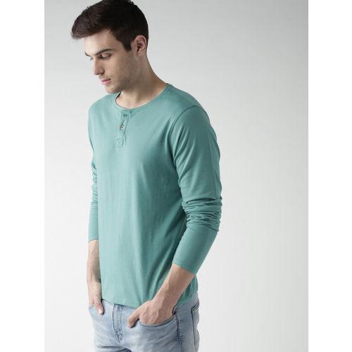 Mast & Harbour Men Sea Green Solid Henley Neck T-shirt