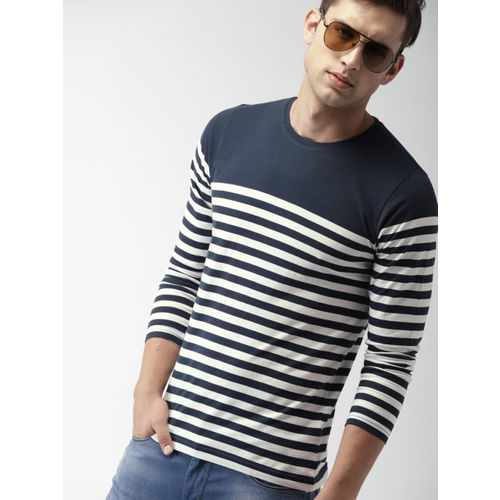 99ce3cfe6bf ... T-shirt  Mast   Harbour Men Navy Blue   White Striped Round Neck ...