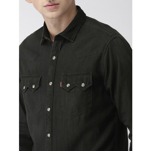 Buy Levis Men Black Slim Fit Solid Denim Shirt online  d8ffc030edfe