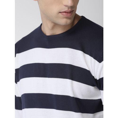 Mast & Harbour Men Navy Blue & White Striped Pullover Sweater