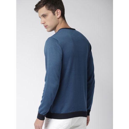 Mast & Harbour Men Navy Blue Solid Pullover Sweater
