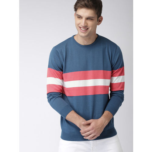 Mast & Harbour Men Blue & Pink Striped Pullover Sweater