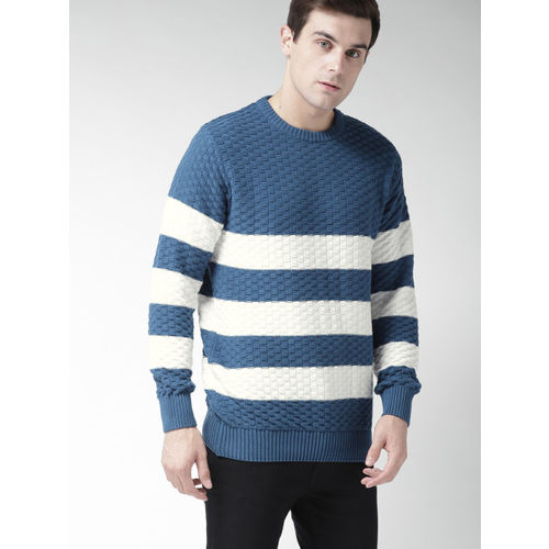 Mast & Harbour Men Blue & White Striped Pullover