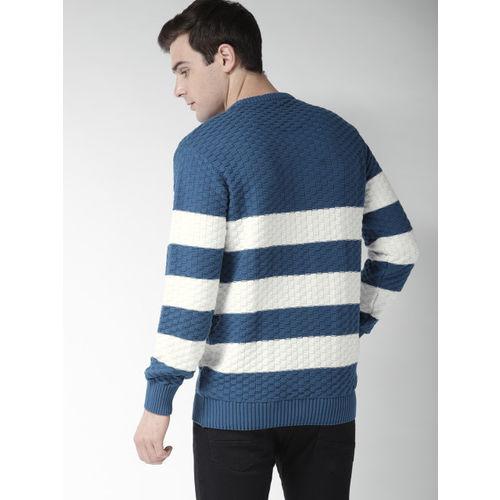 Mast & Harbour Men Blue & White Striped Pullover
