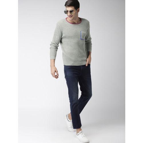 Mast & Harbour Men Grey Self-Design Pullover Sweater