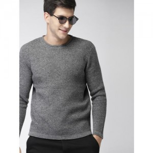 Mast & Harbour Men Charcoal Grey Solid Pullover Sweater