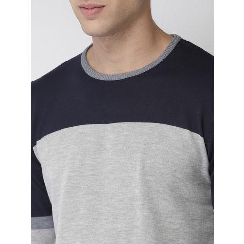 Mast & Harbour Men Grey Melange & Navy Blue Colourblocked Pullover Sweater