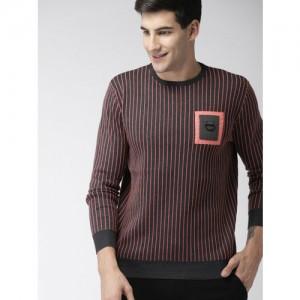 Mast & Harbour Men Grey Melange & Coral Red Self-Design Pullover Sweater