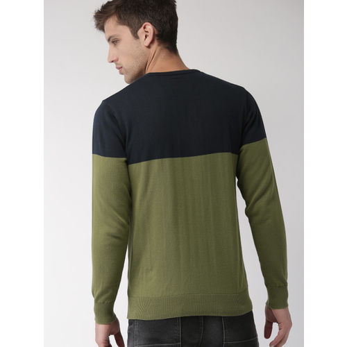Mast & Harbour Men Olive Green & Navy Blue Colourblocked Pullover Sweater