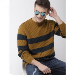 Mast & Harbour Men Mustard Yellow & Navy Blue Striped Pullover