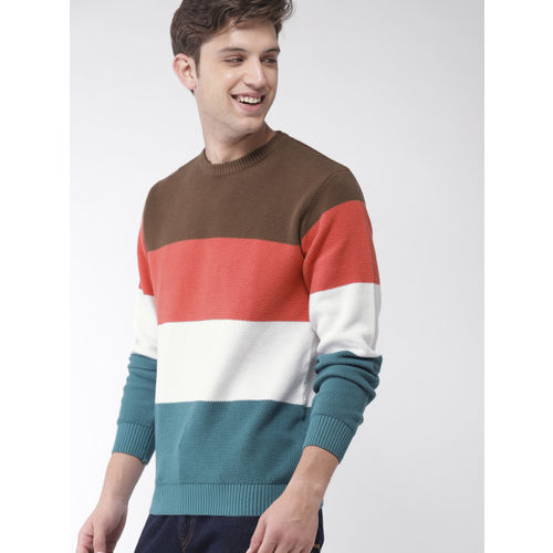 Mast & Harbour Men Brown & Blue Colourblocked Pullover