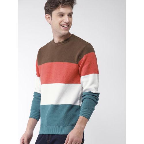 Mast & Harbour Men Brown & Blue Colourblocked Pullover