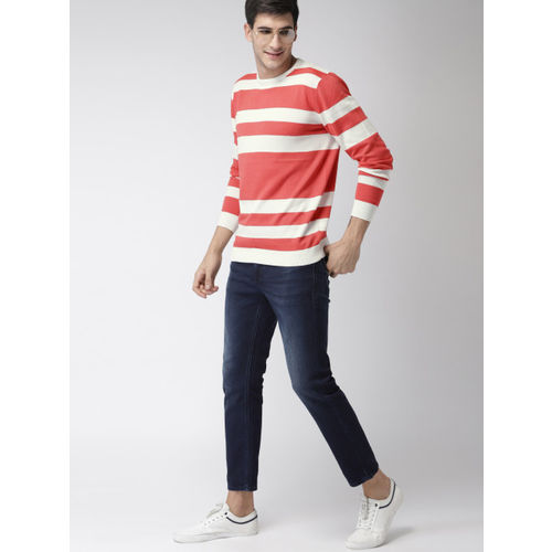 Mast & Harbour Men Coral Pink & White Striped Pullover Sweater