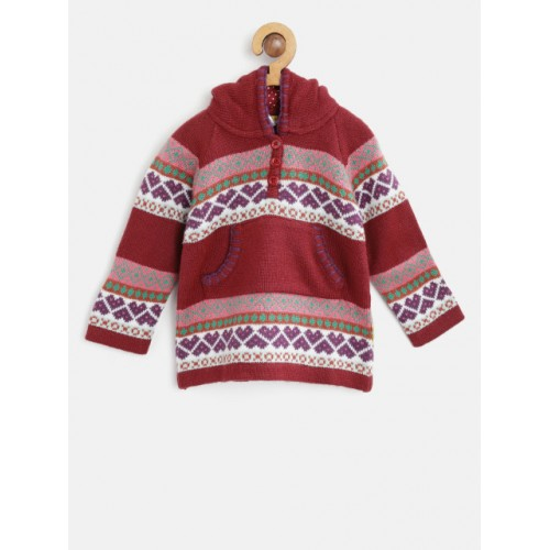 Gini and Jony Maroon & White Self Design Hooded Pullover