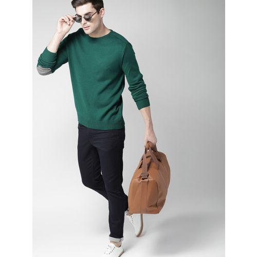 Mast & Harbour Men Green Solid Pullover