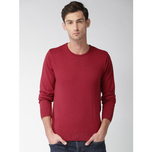 Mast & Harbour Men Red Solid Pullover