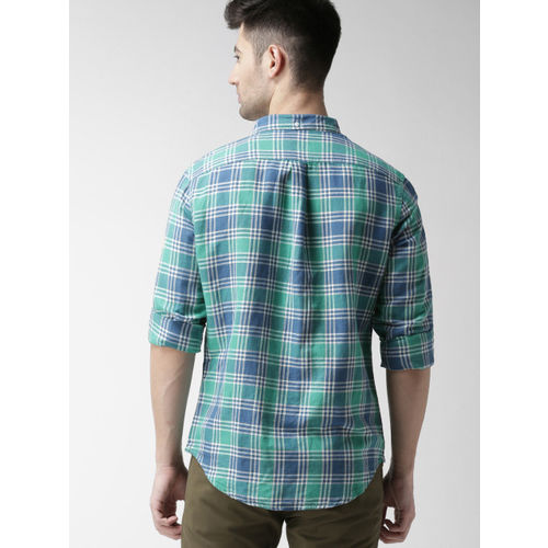 Levis Men Green & Blue Regular Fit Checked Casual Shirt