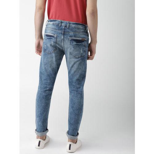 37e629d94d0 ... Mast   Harbour Men Blue Slim Fit Mid-Rise Mildly Distressed Stretchable  Jeans ...