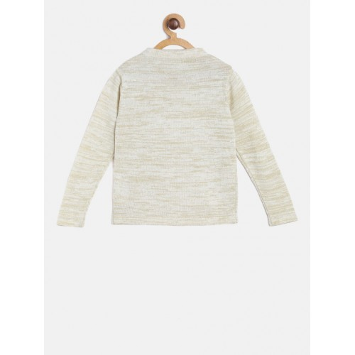 Gini and Jony Beige & Golden Solid Front-Open Sweater